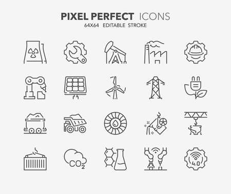 robotic transmission: Thin line icons set of heavy and power industry. Outline symbol collection. Editable vector stroke. 64x64 Pixel Perfect. Illustration