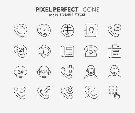 Set di icone di linea sottile di supporto e telefonate. Collezione di simboli di contorno. Tratto vettoriale modificabile. Pixel perfetto 64x64.