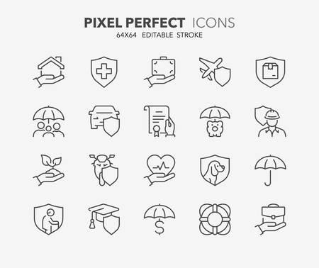 Iconos de líneas finas conjunto de conceptos de seguros y protección. Esquema de colección de símbolos. Trazo de vector editable. Pixel 64x64 perfecto. Ilustración de vector