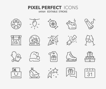 Thin line icons set of christmas, party and celebrations. Outline symbol collection. Editable vector stroke. 64x64 Pixel Perfect. Illustration