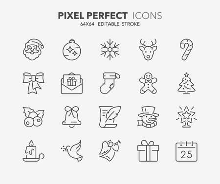 Thin line icons set of christmas and celebrations. Outline symbol collection. Editable vector stroke. 64x64 Pixel Perfect. Illusztráció