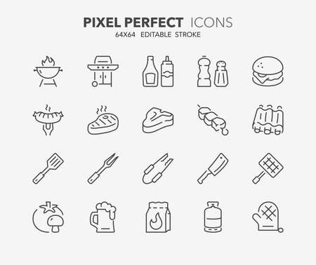 Thin line icons set of barbecue and grill. Outline symbol collection. Editable stroke. 64x64 Pixel Perfect.