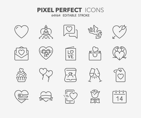 Thin line icons set of love and valentine's day. Outline symbol collection. Editable vector stroke. 64x64 Pixel Perfect. Illusztráció
