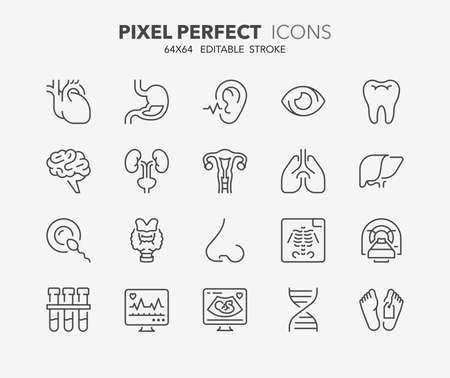 Set di icone di linea sottile di ospedale e cure mediche. Collezione di simboli di contorno. Tratto vettoriale modificabile. Vettoriali