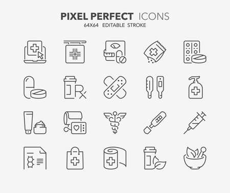 Thin line icons set of pharmacy products and services. Outline symbol collection. Editable vector stroke.