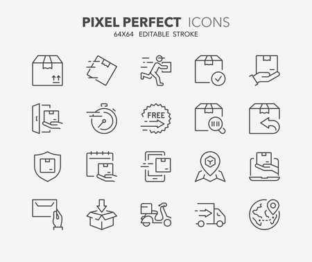 Dünne Linie Icons Set von Versand und Lieferung . Gliederung Icon-Sammlung . Vektorgrafik