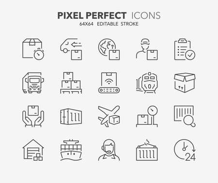 Thin line icons set of logistics and transportation. Outline symbol collection. Editable vector stroke.