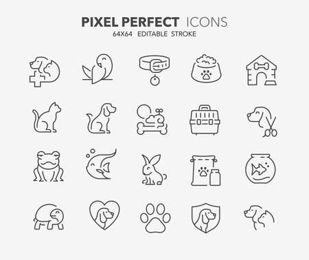 Thin line icons set of pets and veterinary. Outline symbol collection. Editable vector stroke. 64x64 pixel perfect. Illusztráció