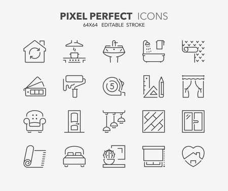 Cienka linia zestaw ikon dekoracji i projektowania wnętrz. Kolekcja symboli konspektu. Edytowalne obrysy wektorowe. 64x64 piksele idealne. Ilustracje wektorowe