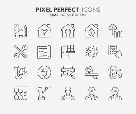 Ensemble d'icônes de fine ligne de rénovation, d'amélioration et de réparation. Décrire la collection de symboles. Coup de vecteur modifiable. 64x64 Pixel Perfect. Vecteurs