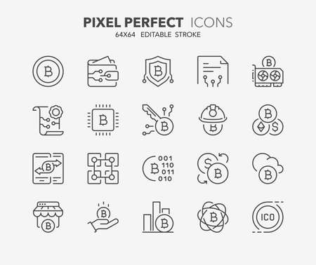 Thin line icons set of crypto currency. Outline symbol collection. Editable vector stroke. 64x64 Pixel Perfect. Illusztráció