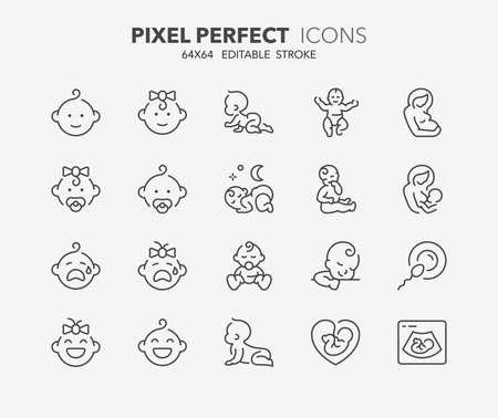 Dünne Linie Symbole Satz von Babys, Mutterschaft und Stillzeit. Gliederungssymbolsammlung. Bearbeitbarer Vektorstrich. 64x64 Pixel Perfekt.