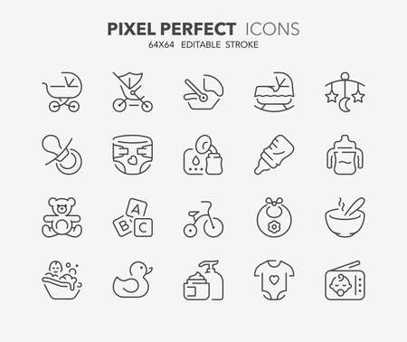 Thin line icons set of babies accessories and lactation. Outline symbol collection. Editable vector stroke. 64x64 Pixel Perfect.