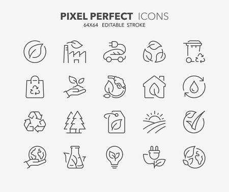 Thin line icons set of ecology, environment and sustainability concepts. Outline symbol collection. Editable vector stroke. 64x64 Pixel Perfect.