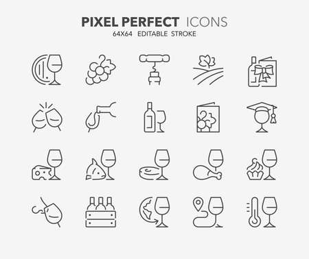 Thin line icons set of wine and wine pairing. Outline symbol collection. Editable vector stroke. 64x64 Pixel Perfect. Illusztráció