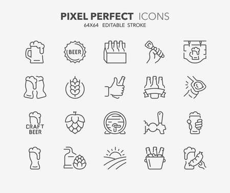 Thin line icons set of beer. Outline symbol collection. Editable vector stroke. 64x64 Pixel Perfect.