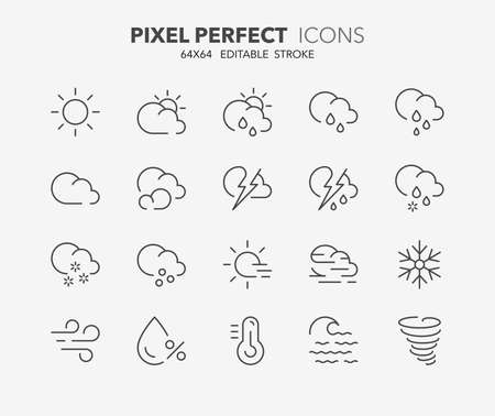 Zestaw ikon cienka linia pogody. Zarys kolekcji symboli. Edytowalny skok wektora. Idealny 64x64 piksele.