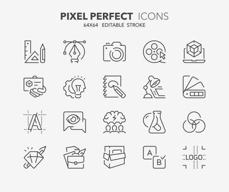 Thin line icons set of graphic design and creative process.