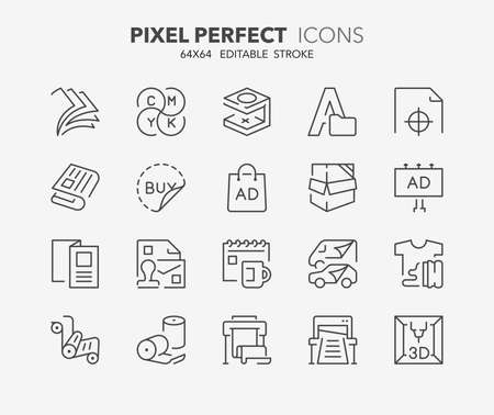 Thin line icons set of printing industry. Outline symbol collection. Editable vector stroke. 64x64 Pixel Perfect. Illusztráció