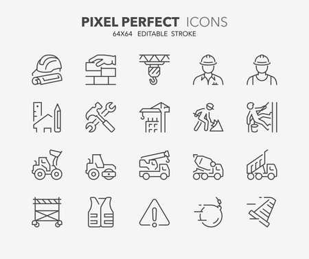 Dünne Linie Symbole Satz von Konstruktion und Architektur. Gliederungssymbolsammlung. Bearbeitbarer Vektorstrich. 64x64 Pixel Perfekt.