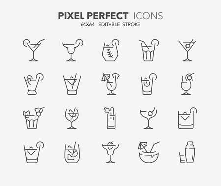 Thin line icons set of classic alcoholic cocktails. Outline symbol collection. Editable vector stroke. 64x64 Pixel Perfect. Illustration