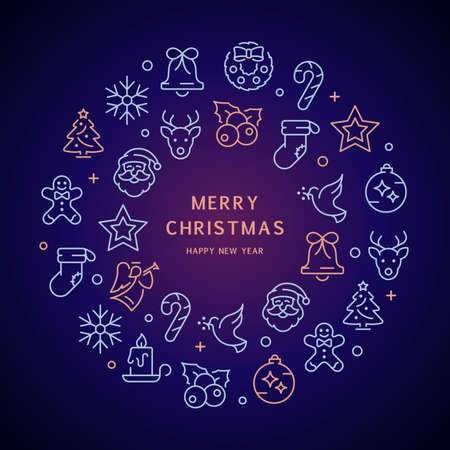 christmas icons with text, trio-tone background