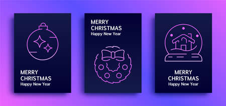 Merry Christmas and happy New Year greetings cards with gradient, trio-tone backgrounds Illusztráció