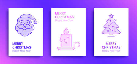 Merry Christmas and happy New Year greetings cards with gradient, trio-tone backgrounds Illustration