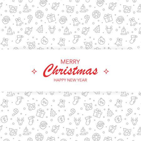 Merry christmas and happy new year banner. Greeting card with icons pattern background. Illusztráció