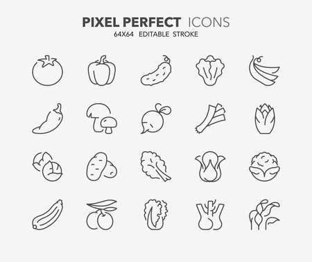 Thin line icons set of vegetables. Outline symbol collection. Editable vector stroke. 64x64 Pixel Perfect.