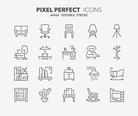 Thin line icons set of furniture, drapery and home textiles. Outline symbol collection. Editable vector stroke. 64x64 Pixel Perfect. Illusztráció