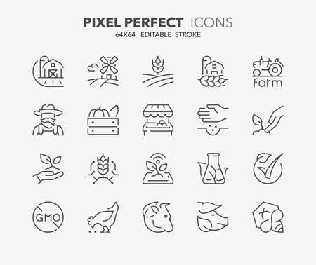 Set di icone sottili di produzione di alimenti biologici e nuove tecnologie agricole. Collezione di simboli di contorno. Tratto vettoriale modificabile. 64x64 pixel perfetti.