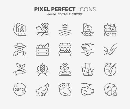 Set of thin line icons of organic food production and new agricultural technologies. Outline symbol collection. Editable vector stroke. 64x64 Pixel Perfect.