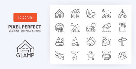 Set of thin line icons of glamping, and camping. Outline symbol collection. Editable vector stroke. 256x256 Pixel Perfect scalable to 128px, 64px...