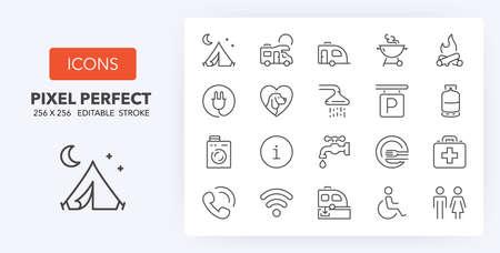 Set of thin line icons of camping, services. Outline symbol collection. Editable vector stroke. 256x256 Pixel Perfect scalable to 128px, 64px... Illustration