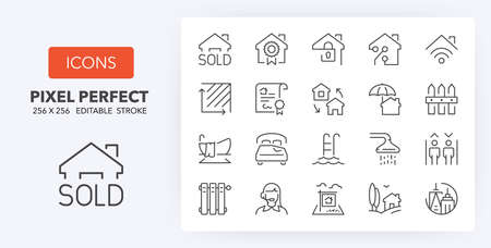 Set of thin line icons of houses and real estate services. Outline symbol collection. Editable vector stroke. 256x256 Pixel Perfect scalable to 128px, 64px... Illusztráció