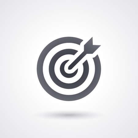 schwarzes Symbol Dartscheibe Ziel mit Pfeil, flach und isoliert