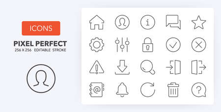 User interface thin line icon set (1/4). Outline symbol collection. Editable vector stroke. 256x256 Pixel Perfect scalable to 128px, 64px...
