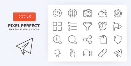 User interface thin line icon set (3/4). Outline symbol collection. Editable vector stroke. 256x256 Pixel Perfect scalable to 128px, 64px... Illusztráció