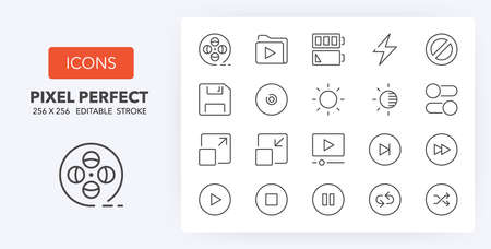 User interface thin line icon set (4/4). Outline symbol collection. Editable vector stroke. 256x256 Pixel Perfect scalable to 128px, 64px... Illusztráció