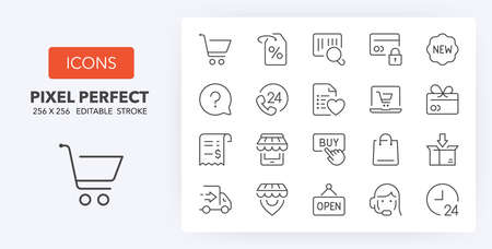 e-commerce and shopping thin line icon set (1/3). Outline symbol collection. Editable vector stroke. 256x256 Pixel Perfect scalable to 128px, 64px...