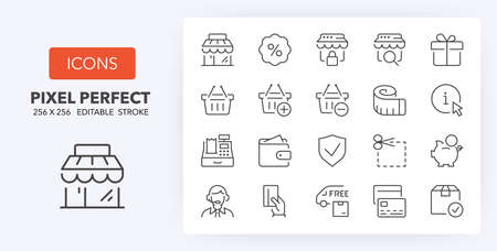 e-commerce and shopping thin line icon set   Outline symbol collection. Editable vector stroke. Illustration