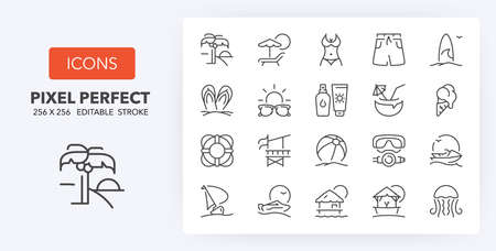 Set of thin line icons of beach activities and summer. Outline symbol collection. Editable vector stroke.