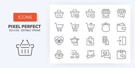 e-commerce and shopping thin line icon set  . Outline symbol collection. Editable vector stroke.