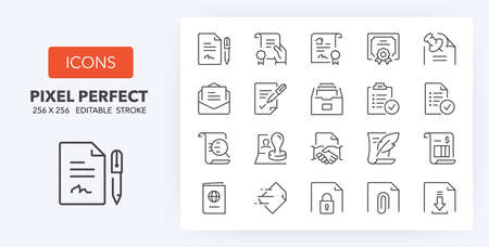 Documents thin line icon set. Outline symbol collection. Editable vector stroke. 256x256 Pixel Perfect scalable to 128px, 64px...