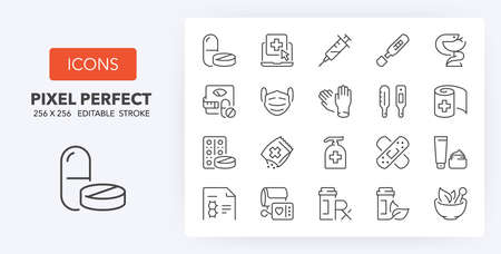 pharmacy products and services thin line icon set. Outline symbol collection. Editable vector stroke. 256x256 Pixel Perfect scalable to 128px, 64px... Illusztráció