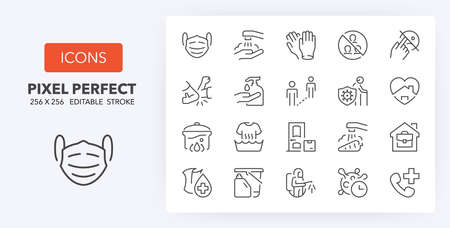 Coronavirus prevention thin line icon set. Outline symbol collection. Editable vector stroke. 256x256 Pixel Perfect scalable to 128px, 64px...