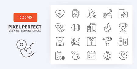 Fitness, gym and health care thin line icon set. Outline symbol collection. Editable vector stroke. 256x256 Pixel Perfect scalable to 128px, 64px... Illusztráció