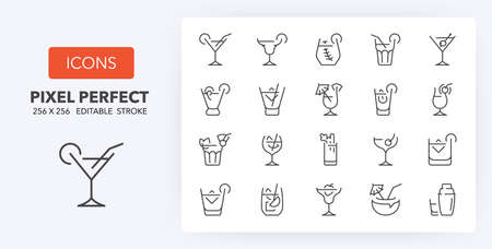 Classic alcoholic cocktails and cocktail glasses thin line icon set. Outline symbol collection. Editable vector stroke. 256x256 Pixel Perfect scalable