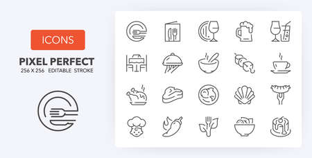 Restaurant and menu options thin line icon set. Outline symbol collection. Editable vector stroke. 256x256 Pixel Perfect scalable to 128px, 64px...